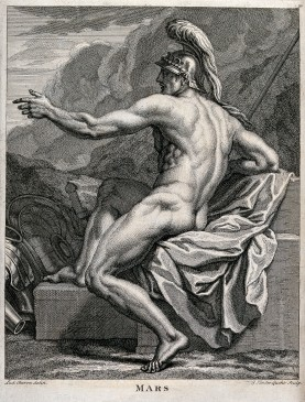 V0048181 Mars [Ares]. Engraving by G. van der Gucht after L. Cheron a